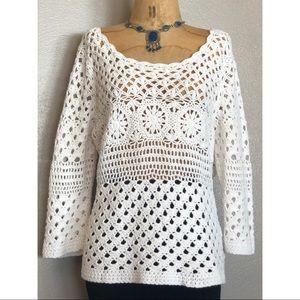 Lucky Brand white crochet sweater